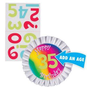 Rainbow Happy Birthday Personalized Button