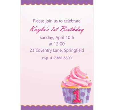Custom 1st Birthday Pink Invitations