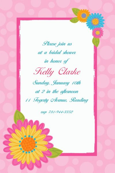 Splashy Flower Custom Invitation