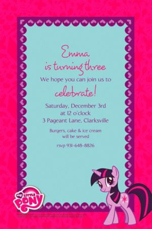 Custom My Little Pony Invitations