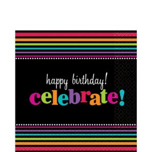 Happy Birthday Lunch Napkins 16ct - Rainbow Stripes