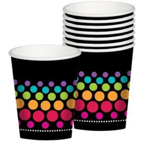 Happy Birthday Cups 8ct - Rainbow Dot