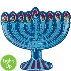 Light-Up Hanukkah Menorah Pin