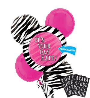 Personalized Balloon Bouquet 5pc - Zebra Party