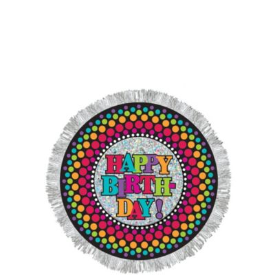Happy Birthday Button - Rainbow Dot
