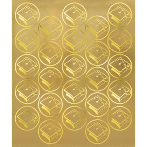 Gold Mortarboard Graduation Sticker Seals 50ct