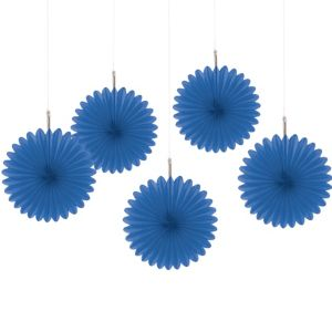 Royal Blue Mini Fan Decorations 5ct