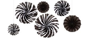 Zebra Paper Fan Decorations 6ct