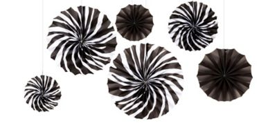 Zebra Print Hanging Fan Assortment 6ct