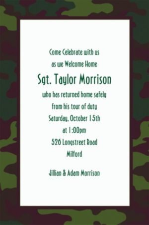 Custom Camouflage Welcome Home Invitations