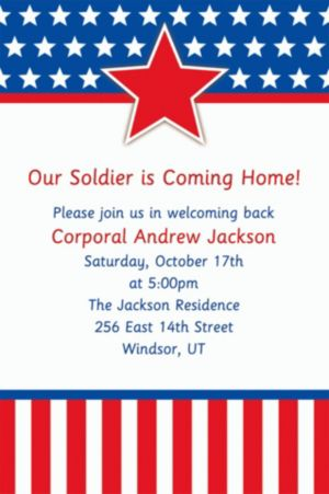 Custom Red, White & Blue Stars Welcome Home Invitations