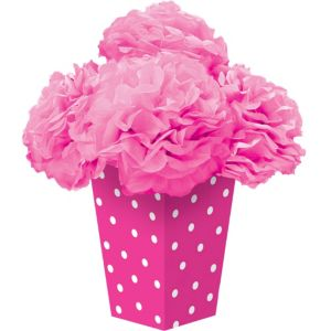 Bright Pink Fluffy Flower Centerpiece Kit 6pc