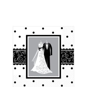 Black & White Wedding Beverage Napkins 16ct