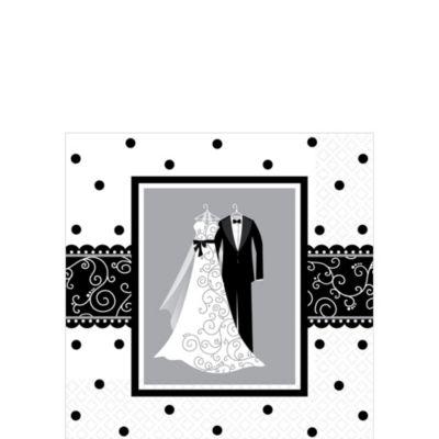 Black & White Wedding Beverage Napkins 16ct