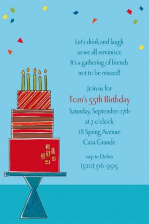 Custom Fetching Birthday Cake Invitations