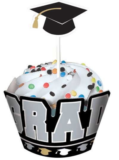 Congrats Graduation Cupcake Wraps with Toppers for 12