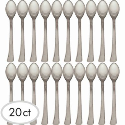Mini Silver Finish Plastic Spoons 20ct