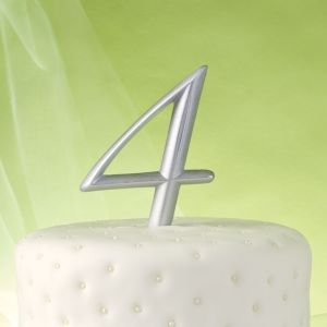 Silver Number 4 Cake Topper