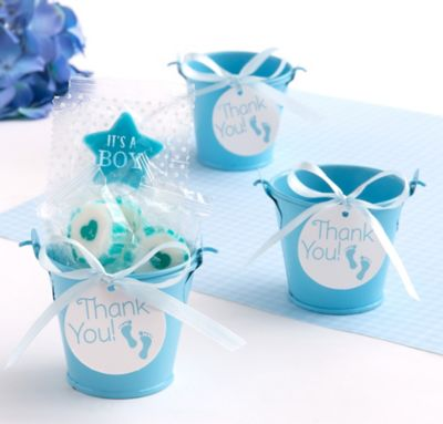 Blue Baby Feet Pail Favor Kit 18ct