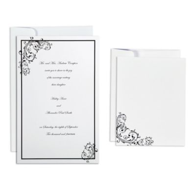 Black Scroll Printable Wedding Invitations Kit 50ct