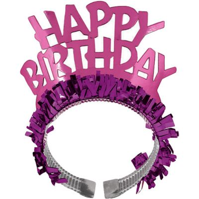 Pink Fringe Happy Birthday Tiara