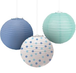 Polka Dot & Blue Paper Lanterns 3ct