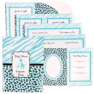 Blue Safari Baby Shower Keepsake Book 8in