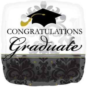 Graduation Balloon - Giant Black & White