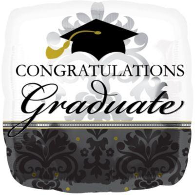 Graduation Balloon - Giant Black & White