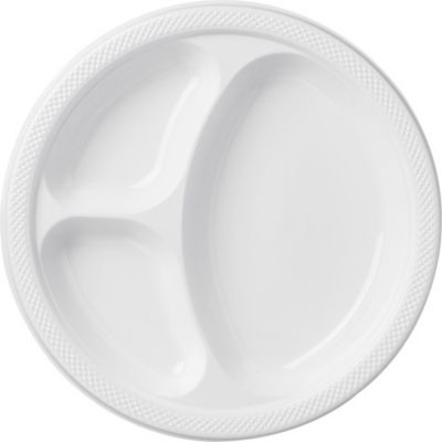 White Plastic Divided Dinner Plates 20ct