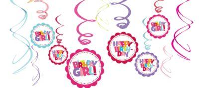 Girl Birthday Swirl Decorations 12ct