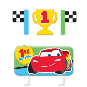 Cars 1st Birthday Candles 4ct