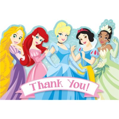 1st Birthday Disney Princess Thank You Notes 8ct