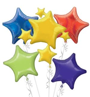 Multicolor Stars Balloon Bouquet 5pc