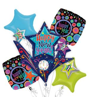 Foil Countdown to New Years Balloon Bouquet 5pc