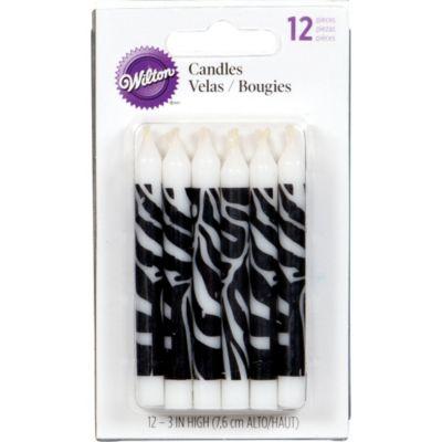 Zebra Print Birthday Candles 3in 12ct