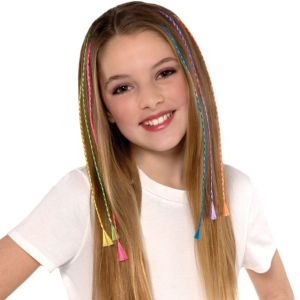 Rainbow Braid Hair Extensions 6ct
