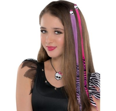 Pink and Purple Monster High Hair Extensions 2ct