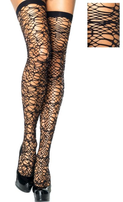 Adult Black Web Net Thigh High Stockings