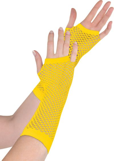 Long Yellow Fishnet Gloves Deluxe