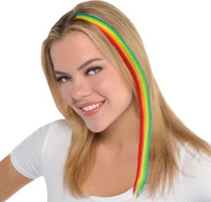 Rainbow Striped Hair Extension 15in