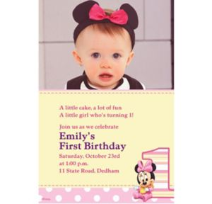 Custom Minnie Mouse 1st Birthday Photo Invitations