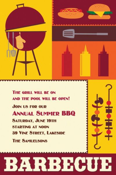 Sizzling Hot Barbecue Custom Invitation