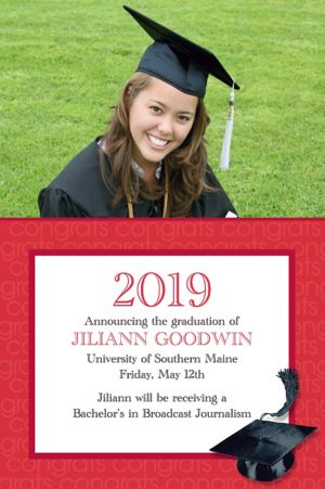 Custom Red Congrats Grad Photo Announcements