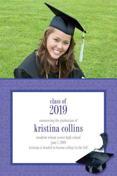 Custom Purple Congrats Grad Photo Announcements