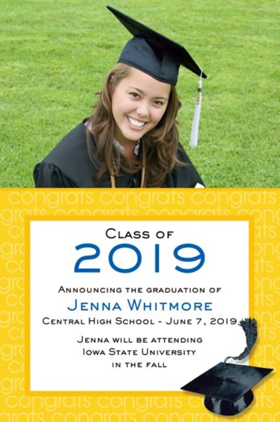 Custom Yellow Congrats Grad Photo Announcements
