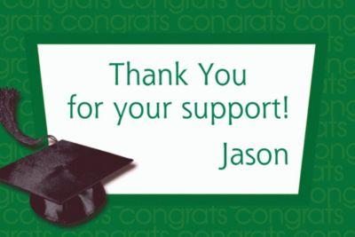 Green Congrats Grad Custom Thank You Notes
