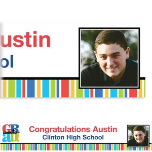 Custom Bravo Grad Stripe Graduation Photo Banner 6ft