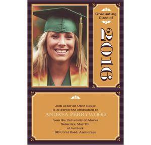Custom Classic Block Image with Year Graduation Photo Invitations
