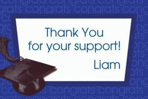 Custom Royal Blue Congrats Grad Thank You Notes